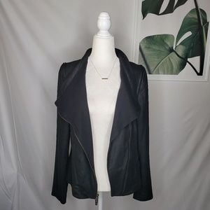 Vince Black Soft Leather Moto Zip Jacket Vest
